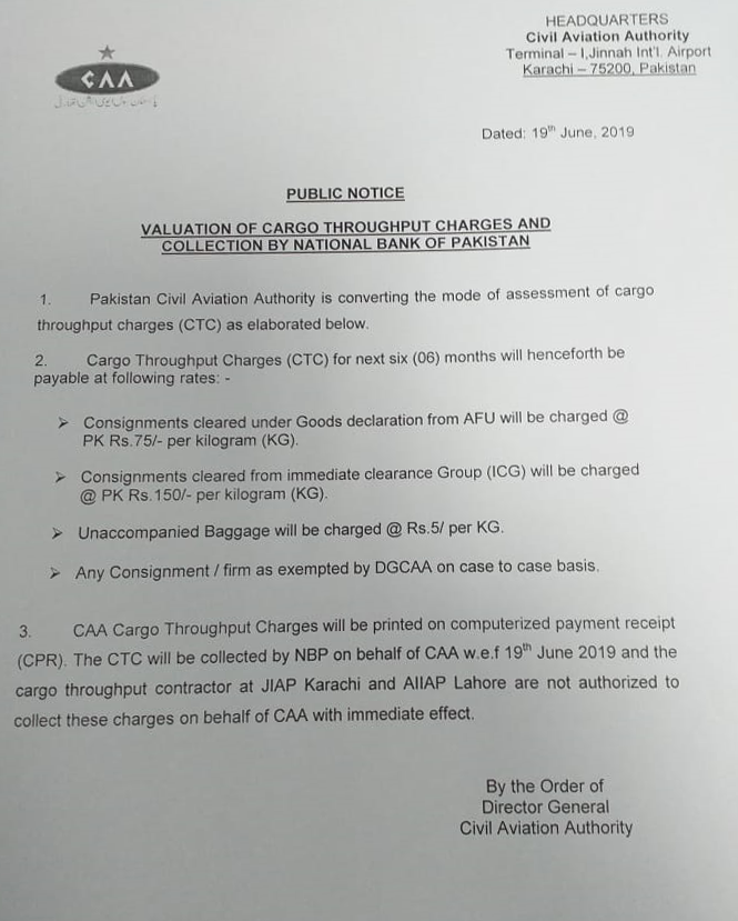 Cargo Charges by NBP